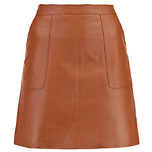 Buy Warehouse Leather Pocket A-Line Skirt, Tan Online at johnlewis.com