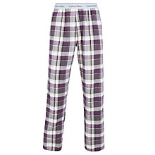Buy Calvin Klein Large Check Cotton Flannel Lounge Pants, Purple/White Online at johnlewis.com