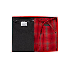 Buy Calvin Klein Long Sleeve Pyjama Set, Grey/Red Online at johnlewis.com