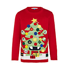 Buy John Lewis Boy Monster Christmas Tree Jumper, Red Online at johnlewis.com