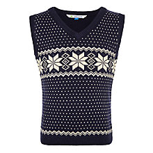 Buy John Lewis Boys Snowflake Knitted Tank, Navy Online at johnlewis.com