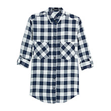 Buy Mango Check Shirt, Navy Online at johnlewis.com
