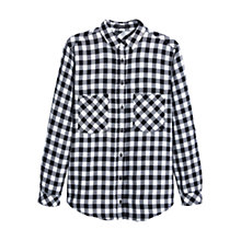 Buy Mango Check Shirt, Black Online at johnlewis.com