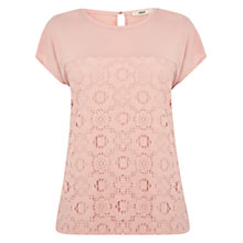 Buy Oasis Dip Hem Daisy Top, Pale Pink Online at johnlewis.com