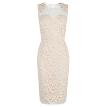 Buy Oasis Lace Panel Shift Dress, Off White Online at johnlewis.com