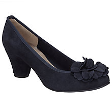 Buy John Lewis Adrianne Flower Detail Courts, Navy Suede Online at johnlewis.com