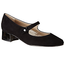 Buy John Lewis Alice Block Heeled Mary Jane Courts, Black Suede Online at johnlewis.com