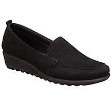 Buy John Lewis Designed for Comfort Gardenia Nubuck Wedge Pumps, Black Online at johnlewis.com