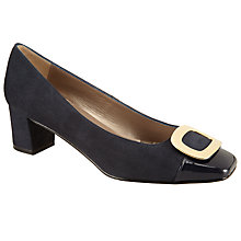 Buy John Lewis Alanna Block Mid Heeled Courts, Navy Suede Online at johnlewis.com