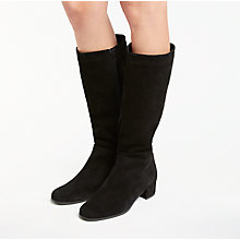 Buy John Lewis Savannah Knee High Suede Boots, Black Online at johnlewis.com
