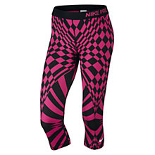Buy Nike Pro Engineered Warped Check Capri Running Tights, Vivid Pink/Black Online at johnlewis.com