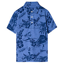 Buy Mango Kids Boys' Hawaii Tropical Print Polo T-Shirt, Bright Blue Online at johnlewis.com