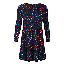 Buy John Lewis Girls' Feather Print Dress, Blue Online at johnlewis.com