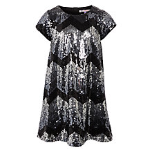 Buy John Lewis Girls' Zig Zag Sequin A-Line Dress, Black/Silver Online at johnlewis.com