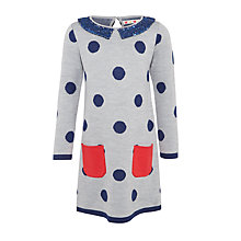 Buy John Lewis Girls' Knit Spot Dress, Grey Online at johnlewis.com
