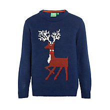 Buy Donna Wilson for John Lewis Girls' Reindeer Jumper, Navy Online at johnlewis.com