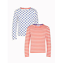 Buy John Lewis Girls' Spot and Stripe Tops, Pack of 2, Red/Blue Online at johnlewis.com