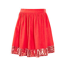 Buy John Lewis Girls' Cord Sequin Panel Skirt, Red Online at johnlewis.com