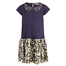 Buy John Lewis Girl Sequin Metallic Dress, Navy/Silver Online at johnlewis.com