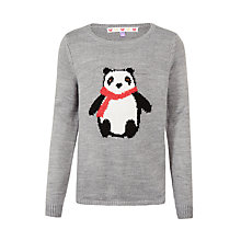 Buy John Lewis Girls' Panda Jumper, Grey Online at johnlewis.com
