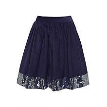 Buy John Lewis Cord Sequin Panel Skirt, Blue Online at johnlewis.com