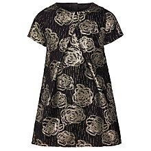 Buy John Lewis Girls' Floral Jacquard A-Line Dress, Black/Gold Online at johnlewis.com