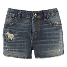 Buy Karen Millen Frayed Denim Shorts, Mid Wash Online at johnlewis.com