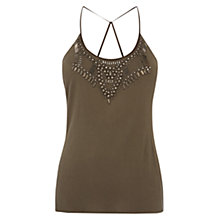 Buy Karen Millen Beaded Jersey Camisole, Khaki Online at johnlewis.com