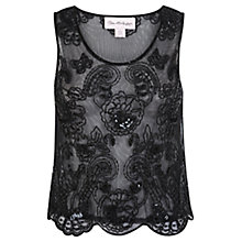 Buy Miss Selfridge Embellished Vest, Black Online at johnlewis.com