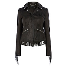 Buy Karen Millen Leather Fringe Jacket, Black Online at johnlewis.com