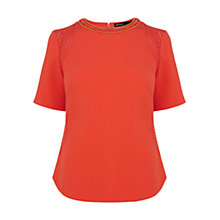 Buy Karen Millen Broderie Top, Orange Online at johnlewis.com