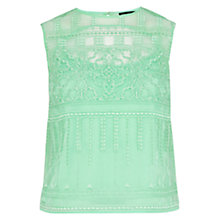 Buy Karen Millen Limited Edition Lace Embroidered Organza Top, Green Online at johnlewis.com