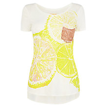 Buy Karen Millen Stud Pocket T-Shirt, Yellow Multi Online at johnlewis.com