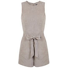 Buy Miss Selfridge Suedette Belted Playsuit, Mink Online at johnlewis.com