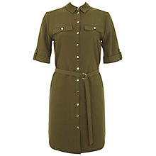 Buy Miss Selfridge 3/4 Sleeve Shirt Dress, Khaki Online at johnlewis.com