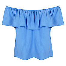 Buy Miss Selfridge Ruffle Bardot Top, Riviera Blue Online at johnlewis.com