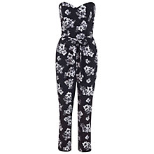 Buy Miss Selfridge Bandeau Floral Print Jumpsuit, Black Online at johnlewis.com
