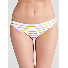 Buy Ted Baker Febey Gold Stripe Bikini Pants, White / Gold Online at johnlewis.com