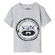 Buy Mango Kids Boys' Marvel Guardians of the Galaxy Rocket T-Shirt, Pastel Grey Online at johnlewis.com