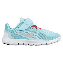 Buy Nike Children's Free 5.0 Running Shoes, Blue/Pink Online at johnlewis.com