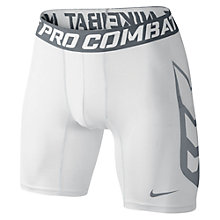 "Buy Nike Pro Hypercool Compression 6"" Shorts, White/Grey Online at johnlewis.com"