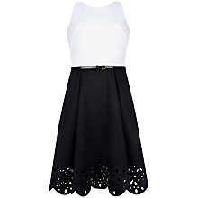 Buy Ted Baker Izabell Scallop Hem Dress, Black/White Online at johnlewis.com