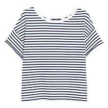 Buy Mango Cotton Stripe T-Shirt, Natural White / Blue Online at johnlewis.com