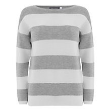 Buy Mint Velvet Stripe Knit Top, Grey / Ivory Online at johnlewis.com