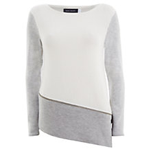 Buy Mint Velvet Rib Front Knit Top, Grey / Ivory Online at johnlewis.com