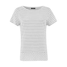 Buy Mint Velvet Stripe Broderie Tee, White Online at johnlewis.com
