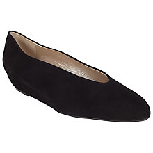 Buy John Lewis Aimee Low Wedge Courts, Black Suede Online at johnlewis.com
