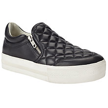Buy Ash Jodie Flatform Side Zip Trainers, Black Online at johnlewis.com