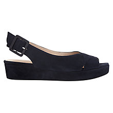 Buy Hobbs Bonnie Wedge Heeled Slingback Sandals, Navy Suede Online at johnlewis.com