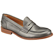 Buy Collection WEEKEND by John Lewis Galey Leather Loafers, Silver Online at johnlewis.com